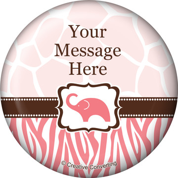 Wild Safari Pink Personalized Button (Each)