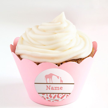 Wild Safari Pink Personalized Cupcake Wrappers (Set of 24)