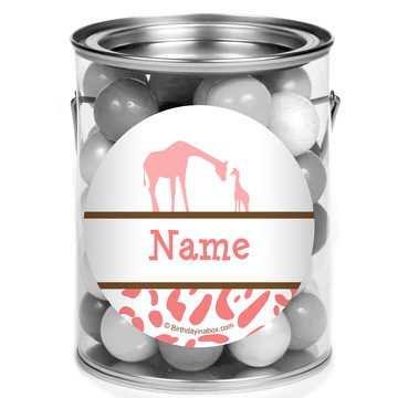 Wild Safari Pink Personalized Mini Paint Cans (12 Count)