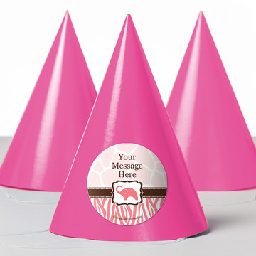 Wild Safari Pink Personalized Party Hats (8 Count)