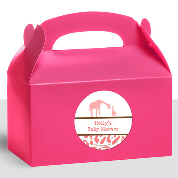 Wild Safari Pink Personalized Treat Favor Boxes (12 Count)