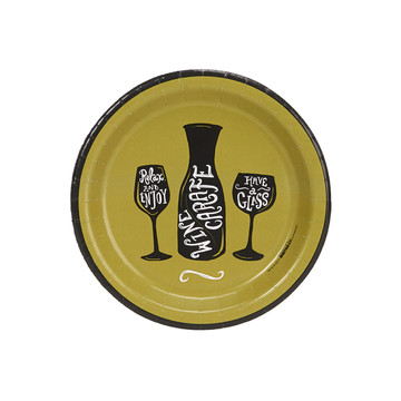 "Wine Time Party Green 7"" Cocktail Plates (8)"