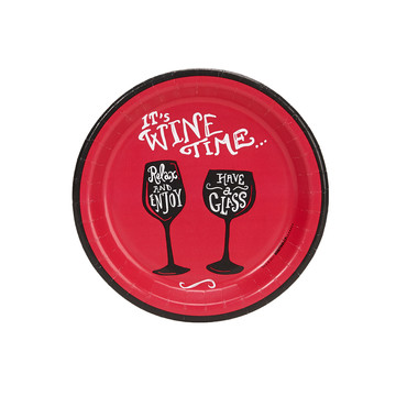 "Wine Time Party Red 7"" Cocktail Plates (8)"