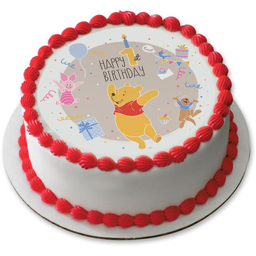 "Winnie the Pooh 1st Birthday 7.5"" Round Edible Cake Topper (Each)"