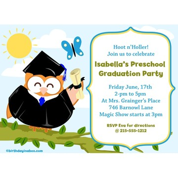 Wise Owl Grad Personalized Invitation (Each)