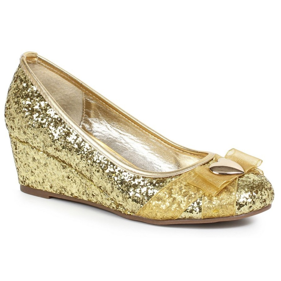 View larger image of Women's Gold Glitter Princess Shoe with Heart Decor