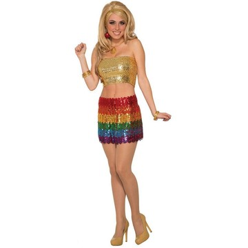Womens Rainbow Sequin Skirt Costume