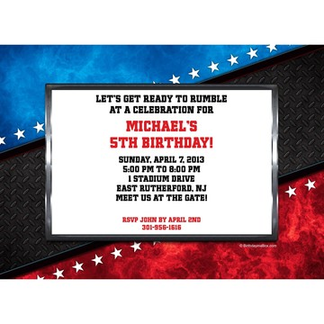 Wrestling Party Personalized Invitation (each)
