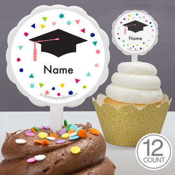 Yay Grad Personalized Cupcake Picks (12 Count)