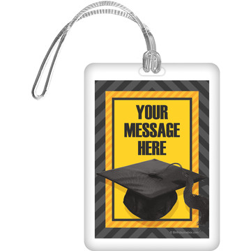 Yellow Caps Off Graduation Personalized Bag Tag (Each)