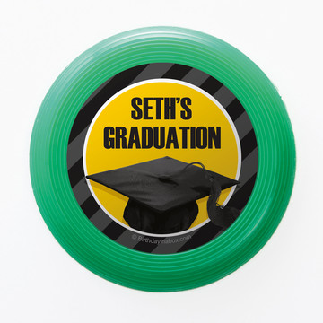 Yellow Caps Off Graduation Personalized Mini Discs (Set of 12)