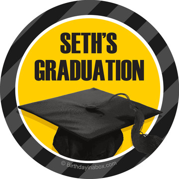 Yellow Caps Off Graduation Personalized Mini Stickers (Sheet of 24)