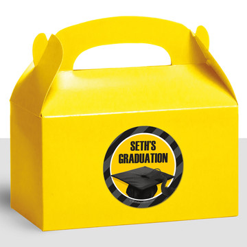 Yellow Caps Off Graduation Personalized Treat Favor Boxes (12 Count)