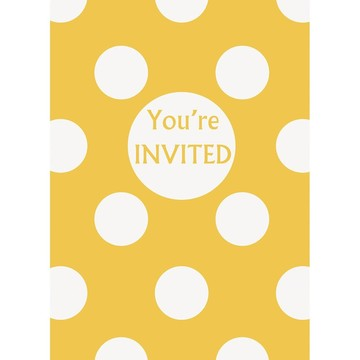 Yellow Dots Invitations (8 Pack)