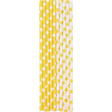 Yellow Dots Paper Straws (10 Count)