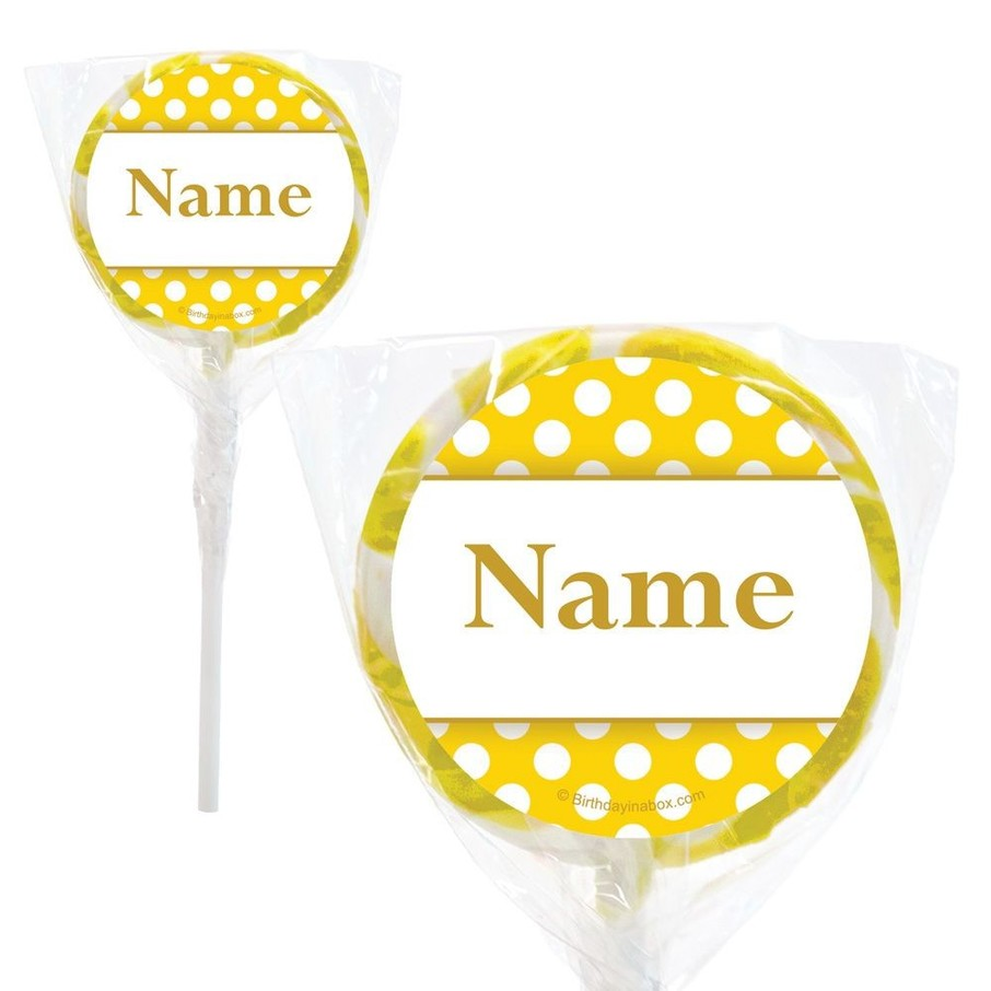 """View larger image of Yellow Dots Personalized 2"""" Lollipops (20 Pack)"""