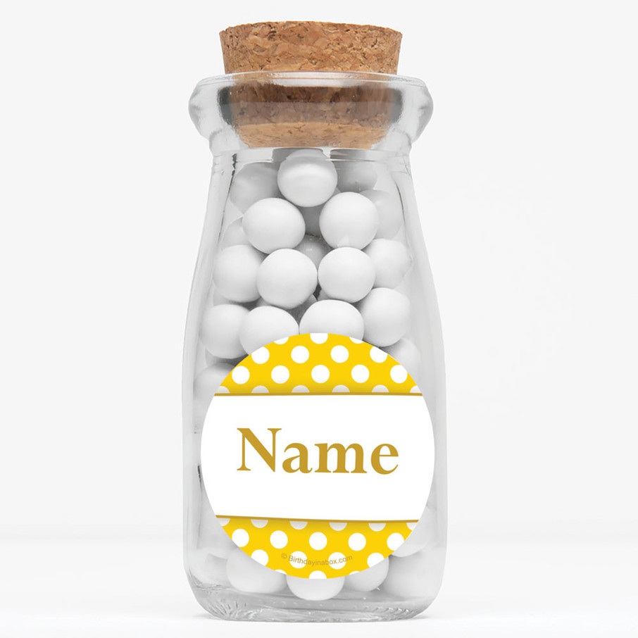 """View larger image of Yellow Dots Personalized 4"""" Glass Milk Jars (Set of 12)"""