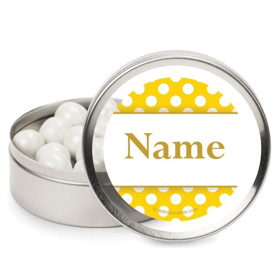 View larger image of Yellow Dots Personalized Candy Tins (12 Pack)
