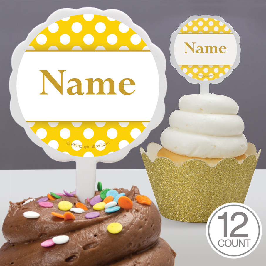 View larger image of Yellow Dots Personalized Cupcake Picks (12 Count)