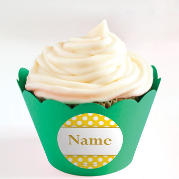 Yellow Dots Personalized Cupcake Wrappers (Set of 24)