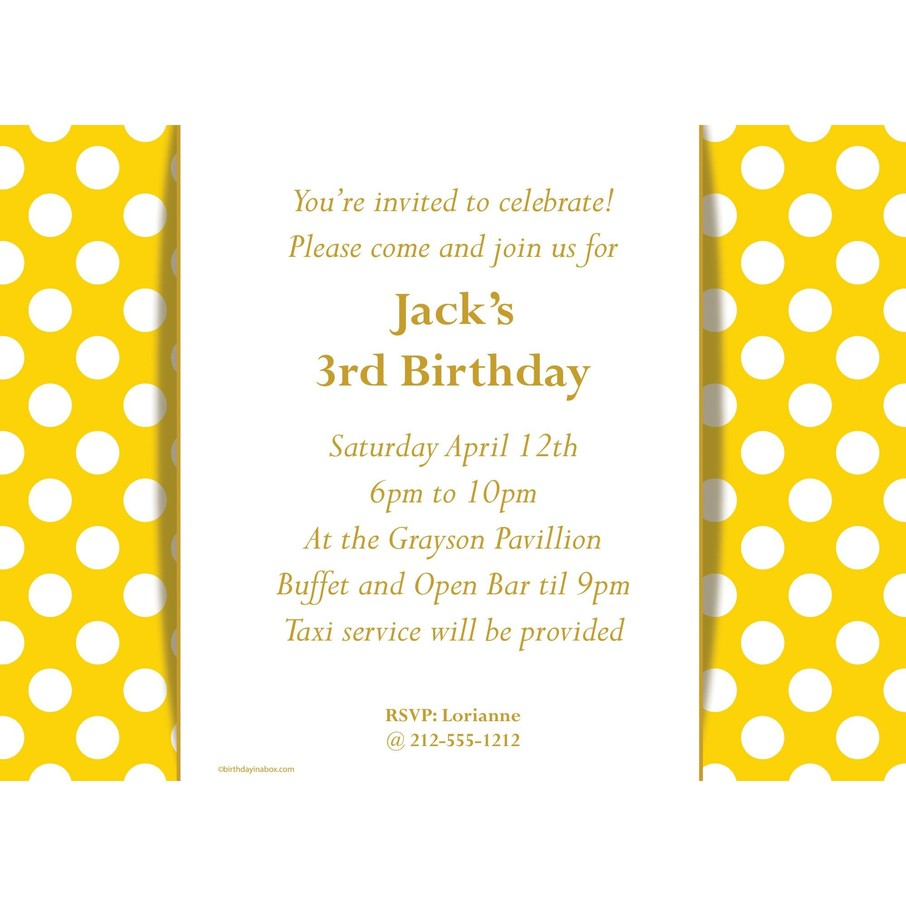 View larger image of Yellow Dots Personalized Invitation (Each)