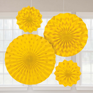 Yellow Glitter Paper Fan Decorations (4 Pack)