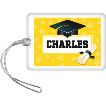 Yellow Grad Personalized Bag Tag (Each)