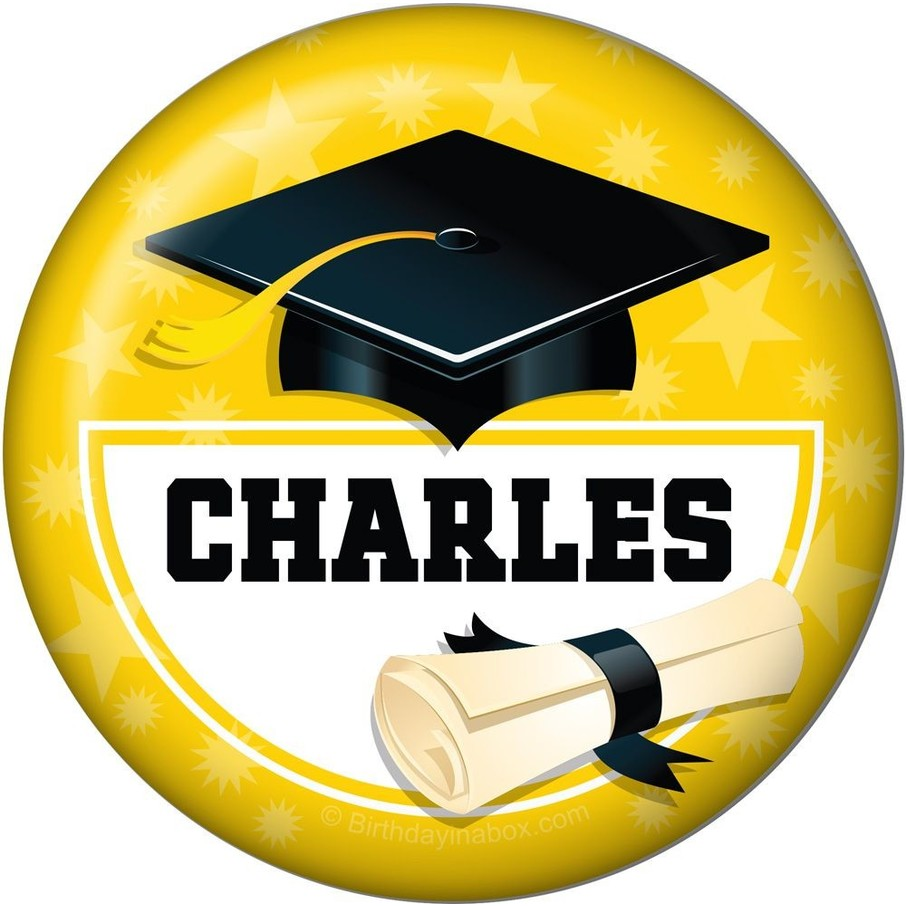 View larger image of Yellow Grad Personalized Button (Each)