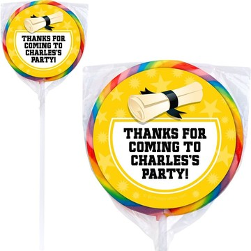 Yellow Grad Personalized Lollipops (12 Pack)