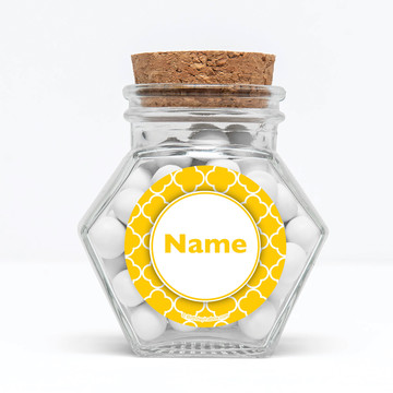 "Yellow Quatrefoil Personalized 3"" Glass Hexagon Jars (Set of 12)"
