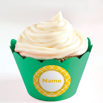 Yellow Quatrefoil Personalized Cupcake Wrappers (Set of 24)