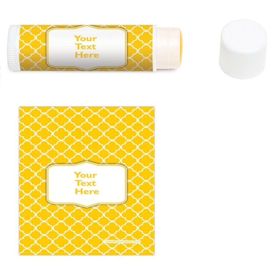 View larger image of Yellow Quatrefoil Personalized Lip Balm (12 Pack)