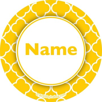 Yellow Quatrefoil Personalized Mini Stickers (Sheet of 24)