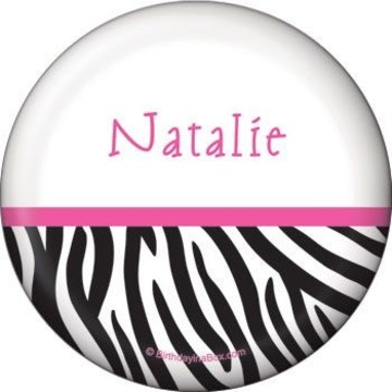 Zebra Party Personalized Button (each)