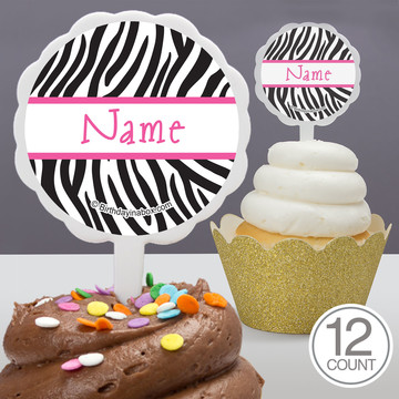 Zebra Party Personalized Cupcake Picks (12 Count)