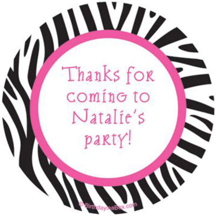 View larger image of Zebra Party Personalized Stickers (sheet of 12)