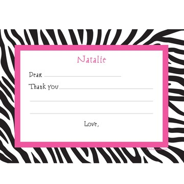 Zebra Party Personalized Thank You Note (each)