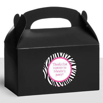 Zebra Party Personalized Treat Favor Boxes (12 Count)
