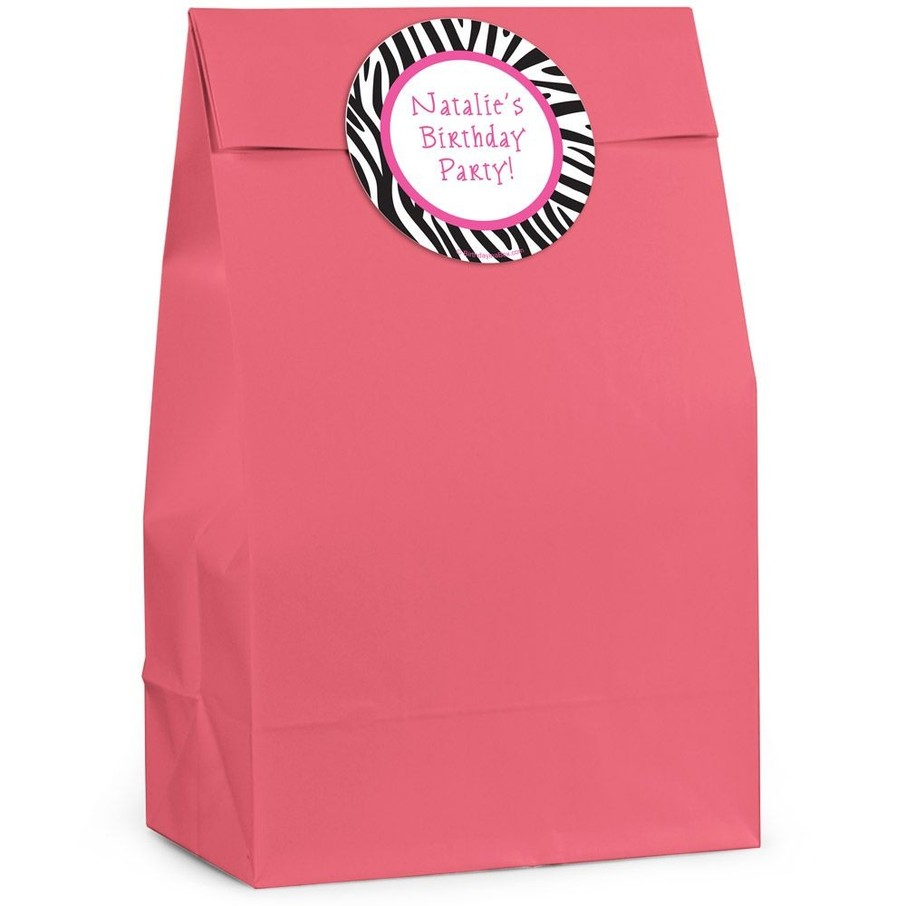 View larger image of Zebra Personalized Favor Bags (Pack Of 12)