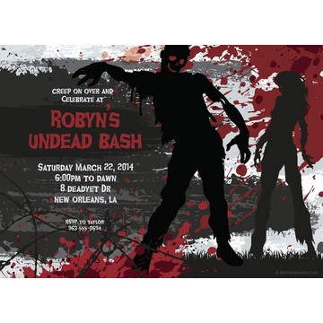 Zombie Personalized Invitation (Each)