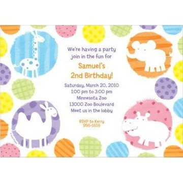 Zoo Babies Party Personalized Invitation (each)
