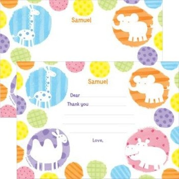 Zoo Babies Party Personalized Thank You Note (each)